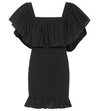 Solid And Striped Smocked Ruffle Cotton Minidress Black