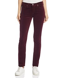 Ag Jeans Mid Rise Cigarette Corduroy In Wine