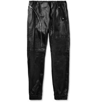 Rick Owens Slim Fit Leather Trousers Black