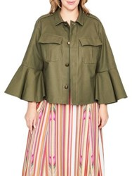 Rachel Roy Plus Bell Sleeve Utility Jacket Army Green