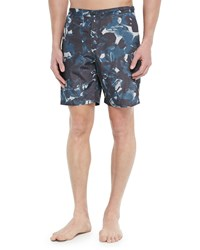 Theory Floral Print Swim Trunks Navy