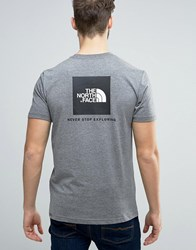 The North Face Red Box T Shirt Back Logo In Mid Gray Heather Gray
