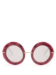 Dolce And Gabbana Round Frame Glitter Acetate Sunglasses Pink