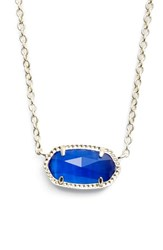 Kendra Scott Women's Elisa Birthstone Pendant Necklace September Cobalt Cats Eye