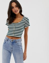Native Youth Scoop Neck Top With Button Front In Stripe Rib Green