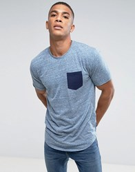 Only And Sons Longline T Shirt With Contrast Pocket Gray