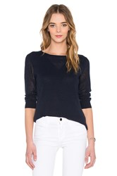 Autumn Cashmere Mesh Crew Neck Sweater Navy