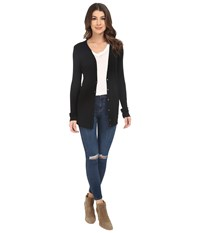 Three Dots Terry Button Up Cardigan Black Women's Sweater