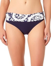 Anne Cole Printed Bikini Bottom Navy