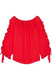 Paul And Joe Woman Ruffled Georgette Blouse Red