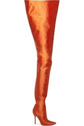 Vetements Manolo Blahnik Satin Boots Bright Orange