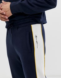 Mennace Joggers With Logo Panel In Navy