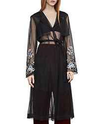 Bcbgmaxazria Embroidered Tulle Trench Coat Black