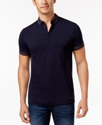Hugo Boss Orange Men's Contrast Trim Button Down Polo Navy