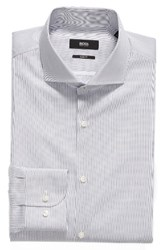 Boss Men's Big And Tall Jerrin Slim Fit Stripe Dress Shirt Navy