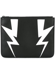 Neil Barrett Lightning Bolt Clutch Black