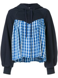 Sea Contrast Check Panel Hoody Blue
