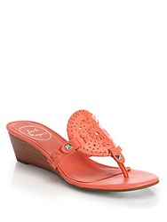 Jack Rogers Devyn Patent Leather Wedge Slides Coral