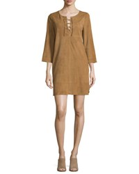 Joie Camarillo Suede Lace Up Shift Dress Honey