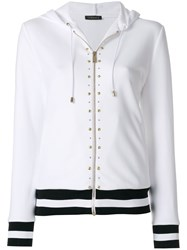 Versace Studded Stripe Detail Zipped Hoodie Cotton Acetate Silk Spandex Elastane White
