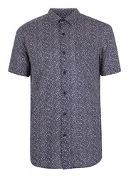 Topman Cream Navy And Off White Speckled Short Sleeve Casual Shirt