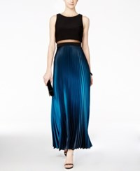 Betsy And Adam Pleated Ombre Illusion Gown Black Teal
