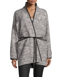 Rebecca Taylor Tweed Tie Waist Jacket Black White Black White