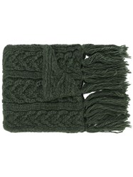Barena Cable Knit Scarf Green