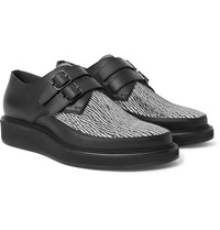 Lanvin Printed Leather Monk Strap Shoes Black
