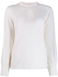 Allude Teardrop Detail Knitted Top White