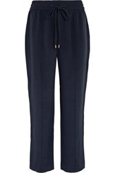 Olivia Von Halle Gio Grosgrain Trimmed Washed Silk Track Pants Midnight Blue
