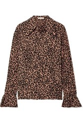 Michael Kors Collection Leopard Print Crinkled Silk Crepe Blouse Leopard Print