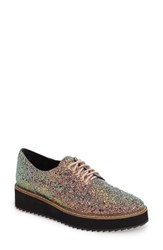 Shellys Women's London Emma Platform Oxford White Gold Glitter