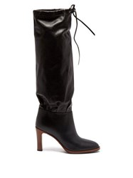 Gucci Lisa Leather Knee High Boots Black