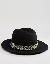 Asos Fedora Hat With High Crown And Tie Dye Band Black