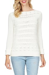 Women's Cece By Cynthia Steffe Horizontal Cable Knit Sweater Light Cream