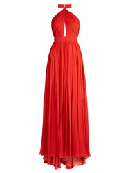 Elie Saab Halterneck Silk Georgette Gown Red