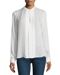 L'agence Lauren Long Sleeve Pleated Silk Blouse Blue Light