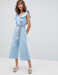 Suncoo Wide Leg Jumpsuit With Tapestry Tie Bleu Jeans Blue