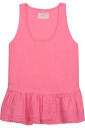 Current Elliott The Ballet Ruffled Cotton Gauze Tank Pink