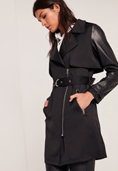Missguided Black Faux Leather Sleeve Trench Coat