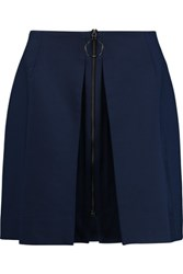 Mother Of Pearl Thea Wool Blend Crepe Mini Skirt Navy