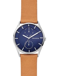 Skagen Holst Titanium Blue Dial Analog Leather Strap Watch