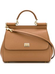 Dolce And Gabbana Medium 'Sicily' Tote Brown