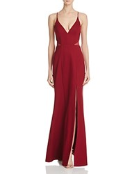 Bariano Illusion Mesh Cutout Gown Burgundy