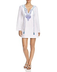 Tommy Bahama Embroidered And Beaded Tunic Swim Cover Up White