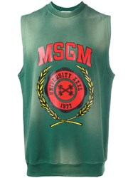 Msgm Sleeveless Printed Sweatshirt Green