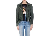 Acne Studios Women's Mock Grained Leather Moto Jacket Dark Green