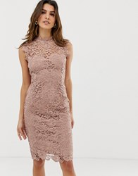 Paper Dolls High Neck Lace Midi Dress In Taupe Brown