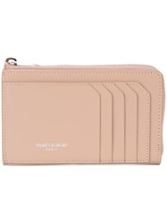 Saint Laurent 5 Fragments Zip Pouch Women Calf Leather One Size Pink Purple
